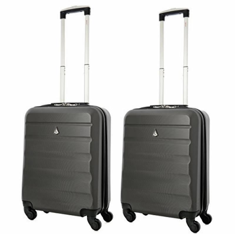 Argent Aerolite ABS Bagage Cabine /à Main Valise Rigide L/éger 4 roulettes Set de 2