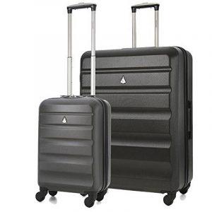 Aerolite ABS Bagage de soute Valise Rigide Léger 4 Roulettes (Charbon 55cm Bagage Cabine + 79cm Grande) de la marque image 0 produit