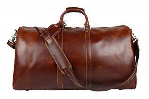 BAIGIO Sac de voyage hommes en cuir Crazy Horse marron de la marque Baigio image 0 produit