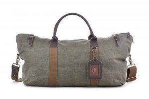 GOOTIUM 60615 Vintage Canvas Cuir Weekend Travel Duffle Bag Sac de Voyage, 52 cm, 40 L, Army Green de la marque Gootium image 0 produit