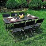 Grande table pliante de pique-nique noire, table 180cm pliante format valise, table de camping de la marque interougehome image 1 produit