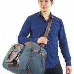 """Gusti Cuir studio """"Stanford"""" sac de sport élégant dont poche pour chaussures sac de voyage sac de week-end en cuir de chèvre et en toile marron bleu 2R25-29-17 de la marque Gusti Leder studio image 1 produit"""