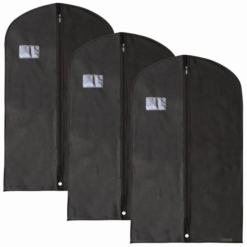 Hangerworld 3 Housses de Protection 150 x 61cm Noires Respirantes pour V/êtements