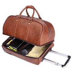 Leathario sac de voyage à roulette valise rigide valise cabine cuir sac véritable roulette valise de la marque Leathario image 0 produit