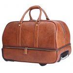 Leathario sac de voyage à roulette valise rigide valise cabine cuir sac véritable roulette valise de la marque Leathario image 1 produit