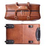 Leathario sac de voyage à roulette valise rigide valise cabine cuir sac véritable roulette valise de la marque Leathario image 2 produit