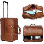 Leathario sac de voyage à roulette valise rigide valise cabine cuir sac véritable roulette valise de la marque Leathario image 3 produit
