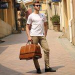 Leathario sac de voyage à roulette valise rigide valise cabine cuir sac véritable roulette valise de la marque Leathario image 6 produit