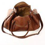 LECONI sac voyage femme homme sac en cuir besace weekend sac de sport nature 53x28x28cm LE2004 de la marque Leconi image 4 produit