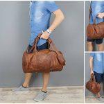 LECONI sac voyage femme homme sac en cuir besace weekend sac de sport nature 53x28x28cm LE2004 de la marque Leconi image 6 produit
