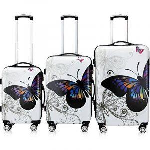 Lot 3 valises M, L, XL Butterfly rigides renforcées set de voyage avec verrou - roulettes 360° de la marque Deuba image 0 produit