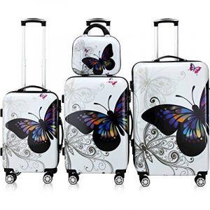 Lot 4 valises Butterfly M, L, XL et vanity rigides renforcées voyage avec mallette maquillage et verrou de la marque Deuba image 0 produit