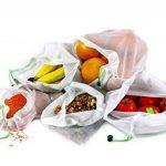 Lot de 9 sacs en maille réutilisables RYBit + 1 sac de courses éco pliable. Pour le linge, les voyages, la plage, le sport et le rangement des courses. Lavables en machine. Sans BPA. 3 tailles de la marque RYBit image 3 produit