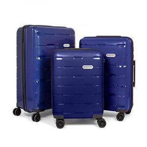 MasterGear - Set de 3 Valises en polypropylène à Fermeture éclair ultra légère et mobile - 4 Roulettes (360 °) - Valise rigide - Cadenas TSA - Emboîtables - Tailles S, M, L - Bleu de la marque MasterGear image 0 produit