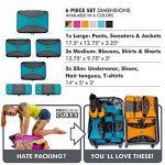 PRO Packing Cubes   Ensemble économique de sacs de rangement de voyage 6 pièces   Sacs économisant 30% de place   Organiseurs de bagage ultralégers   Idéal pour les sacs de voyage & valises de cabine de la marque Pro Packing Cubes image 6 produit