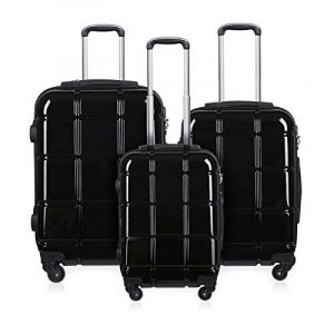 REYLEO Set de 3 Valises Trolley en PC et ABS Léger 200L Fashion Ensemble de Valises Cabine Rigide avec 4 Roulettes 360° Noir RL01 de la marque REYLEO image 0 produit