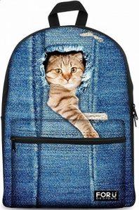 Sac à dos Backpack, FOR U DESIGNS la mode Denim école sac dos fille léger Casual cartable de filles Sac d'école 15,6 pouces sac pour ordinateur de la marque For U Designs image 0 produit