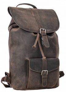 """Sac à dos - Gusti Cuir studio """"Nolan"""" backpack bagage à main vintage bagage cabine rétro homme femme cuir de buffle marron foncé 2M23-20-4wp de la marque Gusti Cuir studio image 0 produit"""
