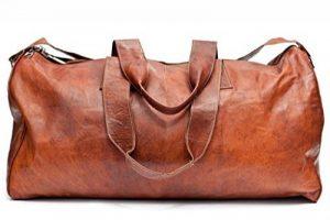 Sac de voyage - Barello Hemingway Duffle, bagage cabine vintage sac à bandoulière rétro bagage à main pour homme/femme, sac weekend véritable cuir de la marque Barello image 0 produit