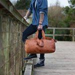 Sac de voyage - Barello Hemingway Duffle, bagage cabine vintage sac à bandoulière rétro bagage à main pour homme/femme, sac weekend véritable cuir de la marque Barello image 2 produit