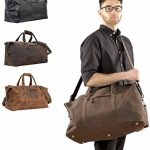 """Sac de voyage - Gusti Cuir studio"""" Ruben"""" bagage cabine vintage sac à bandoulière rétro bagage à main homme femme cuir de vachette marron 2R1-20-5wp S de la marque Gusti Leder studio image 1 produit"""