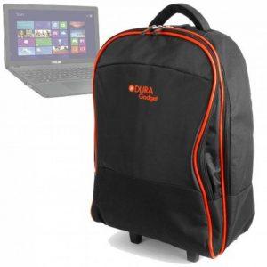 Sac trolley noir / orange pour Asus X552CL-SX022H, Premium R510CC-XX516H / R510LD-XX282H / R511LA-XO2634T PC portable - roulettes et poignée télescopique DURAGADGET de la marque Duragadget image 0 produit