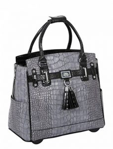 Sacoche à Roulettes Pour Femme, Gris et Noir Alligator Pour Transporter iPad, Tablette ou Ordinateur de la marque JKM & Company image 0 produit