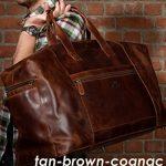 SID & VAIN sac de voyage BRISTOL - XL - besace weekend style Vintage - sac de sport châtain clair en cuir véritable de la marque SID & VAIN image 4 produit