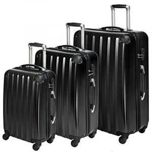 TecTake Polycarbonate multilayer set lot de 3 valises trolley noir valise rigide - avec serrure à combinaison intégrée - poignée télescopique - roulettes 360° de la marque TecTake image 0 produit