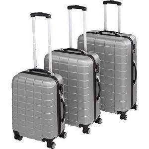 TecTake Set de 3 valises de voyage de ABS | avec serrure à combinaison intégrée | poignée télescopique | roulettes 360° - diverses couleurs au choix (Argent| no. 402672) de la marque TecTake image 0 produit