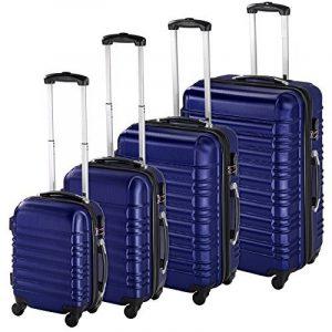 TecTake Set de 4 valises de voyage de ABS - avec serrure à combinaison intégrée - poignée télescopique - roulettes 360° - Bleu de la marque TecTake image 0 produit