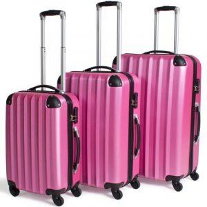 TecTake Set Lot de 3 valises Trolley rose valise rigide - avec serrure à combinaison intégrée - poignée télescopique - roulettes 360° de la marque TecTake image 0 produit