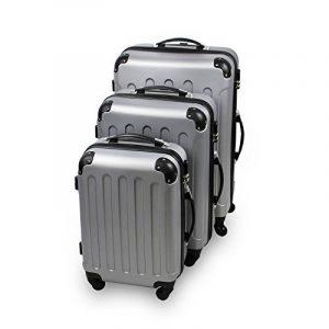 Todeco - Set 3 Valises Trolley pour Voyage - Matériau: Plastique ABS - 4 roues à rotation 360° - Coins protégés, 51 61 71 cm, Argent, ABS de la marque Todeco image 0 produit