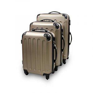Todeco - Set 3 Valises Trolley pour Voyage - Matériau: Plastique ABS - 4 roues à rotation 360° - Coins protégés, 51 61 71 cm, Champagne, ABS de la marque Todeco image 0 produit