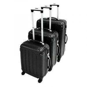 Todeco - Set 3 Valises Trolley pour Voyage - Matériau: Plastique ABS - 4 roues à rotation 360° - Coins protégés, 51 61 71 cm, Noir, ABS de la marque Todeco image 0 produit