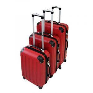 Todeco - Set de 3 valises Trolley rouges - Valises rigides à roulettes avec sécurité - Couleur Rouge de la marque Todeco image 0 produit