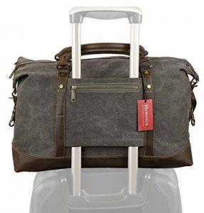 Weekender sac à bandoulière toile sac en cuir véritable voyage sac fourre-tout de la marque Habitoux image 0 produit