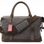 Weekender sac à bandoulière toile sac en cuir véritable voyage sac fourre-tout de la marque Habitoux image 1 produit