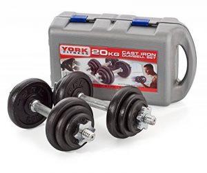 York Fitness Jeu d'halteres en fonte de 20 kg avec valise, noir/argent de la marque York Fitness image 0 produit