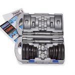 York Fitness Jeu d'halteres en fonte de 20 kg avec valise, noir/argent de la marque York Fitness image 3 produit