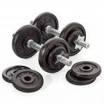 York Fitness Jeu d'halteres en fonte de 20 kg avec valise, noir/argent de la marque York Fitness image 5 produit